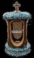 Лампадка (подсвечник) с гранитом для надгробного памятника Лампада, подсвечник, покостовка, бронза