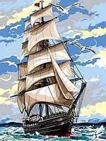 Картины по номерам на холсте 30×40 см. Парусник