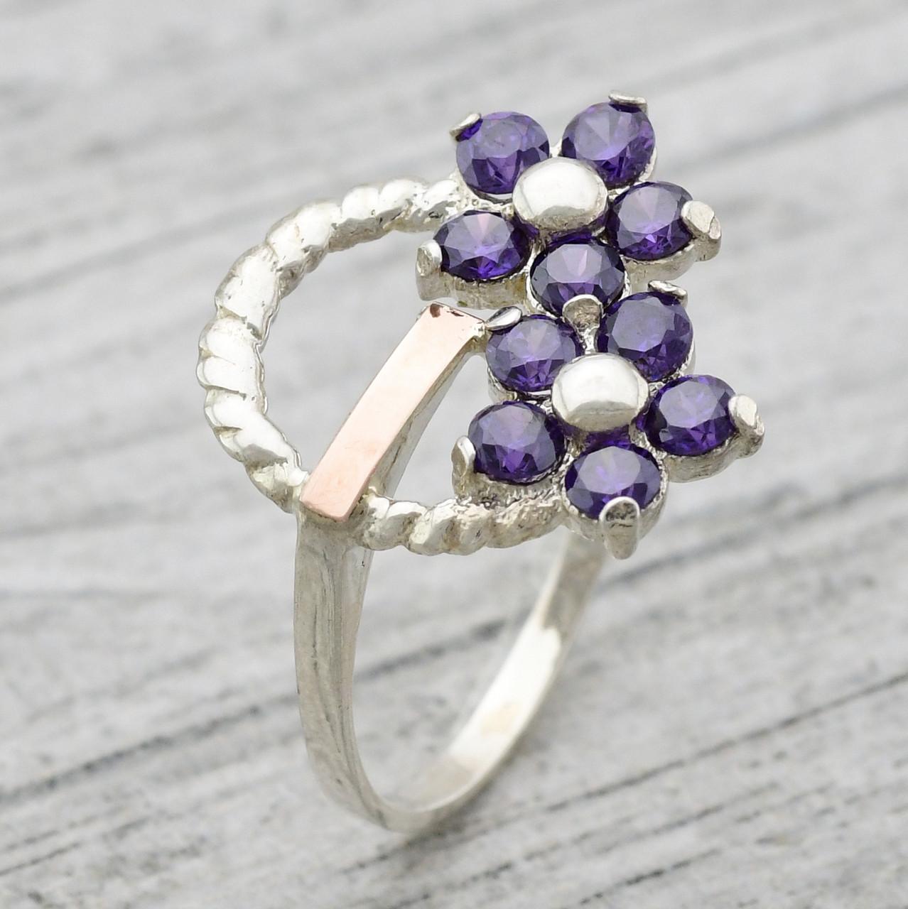"""Серебряное кольцо """"Фиалка"""", вставка фиолетовые фианиты, вес 2.97 г, размер 19"""