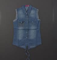 Джинсовая рубашка для девочек S&D оптом, 134-164 рр. , фото 1