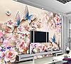 "3D фотообои ""Бабочки на цветах """