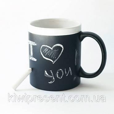 Чашка (кружка) органайзер черная + 2 мелка