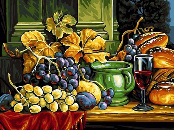 Раскраски для взрослых 30×40 см. Натюрморт вино и виноград ...