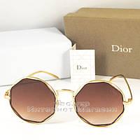 Женские солнцезащитные очки Dior цветные коричневые  оправа металлическая под золото Диор люкс реплика, фото 1