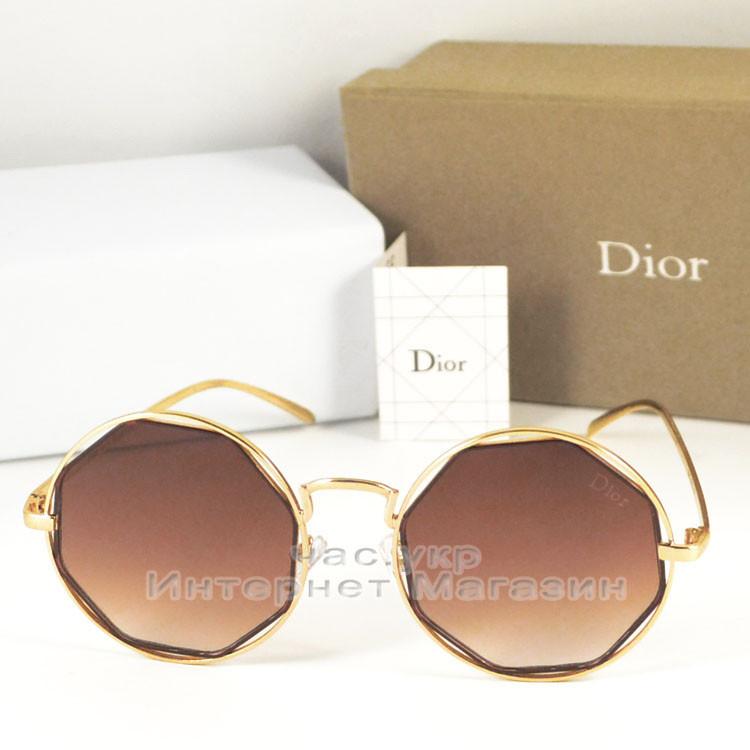 Женские солнцезащитные очки Dior цветные коричневые  оправа металлическая под золото Диор люкс реплика