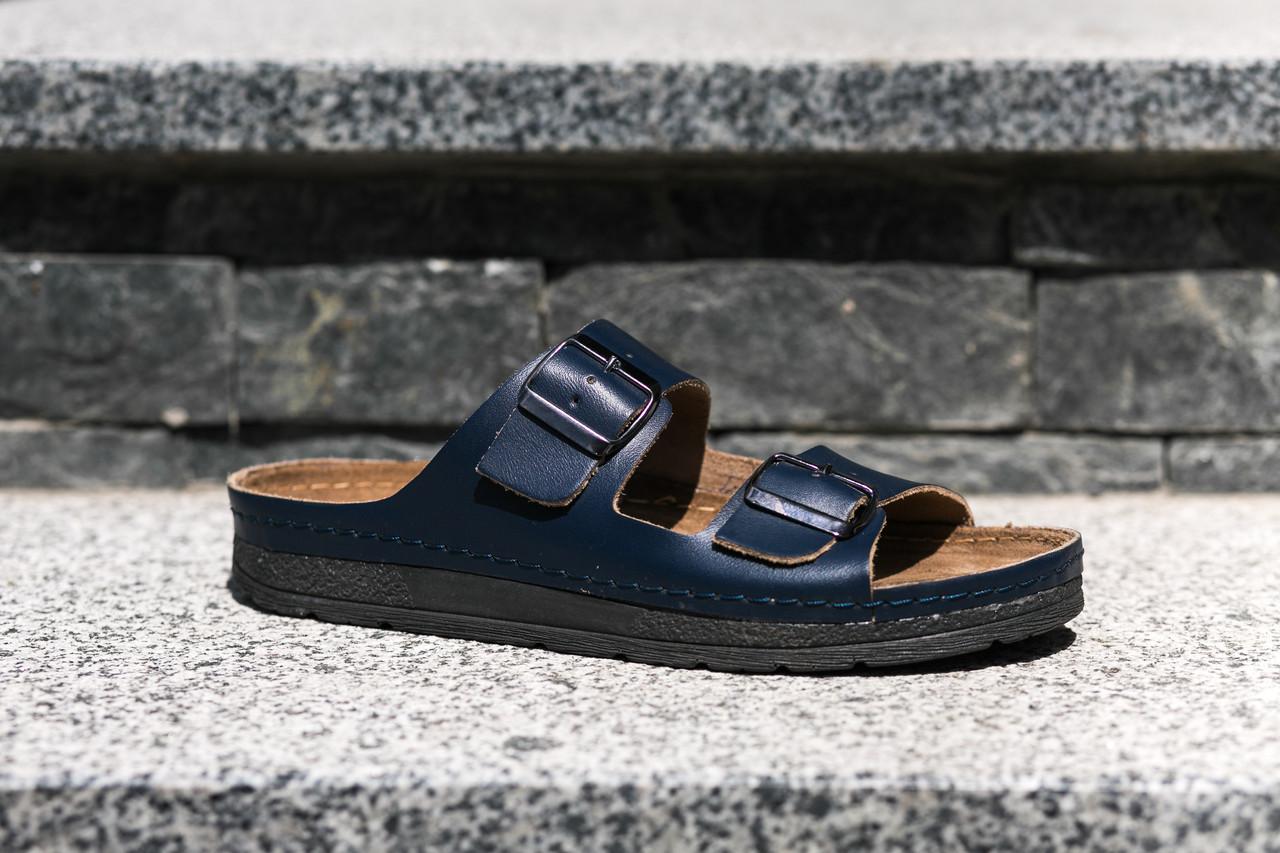 Шльопанці синього кольору повністю з натуральної шкіри - якісне польське  взуття! - Магазин чоловічого взуття 3397a826c5466