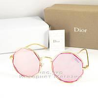 Женские солнцезащитные очки Dior Круглые зеркальные розовые качество 100% Диор реплика, фото 1