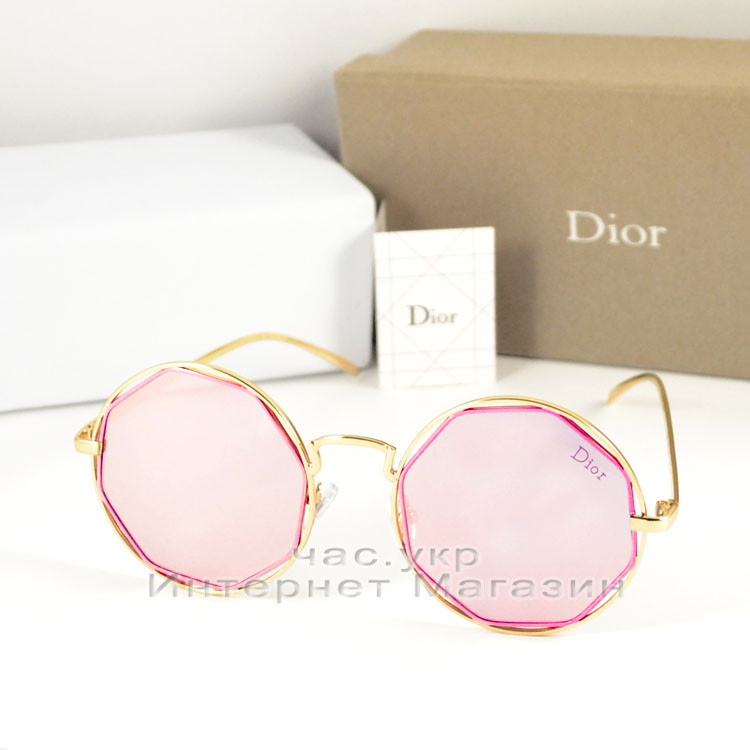 Женские солнцезащитные очки Dior Круглые зеркальные розовые качество 100% Диор реплика