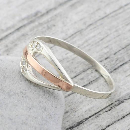 """Серебряное кольцо """"Соната"""", вставка белый фианит, вес 1.53 г, размер 16"""