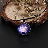 Ожерелье, Подвеска, Шнур, Кулон - Галактика, Стеклянный, Прозрачный, Круглый, 43 см, фото 1