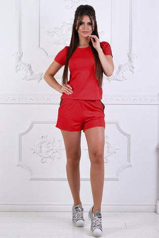Спортивный женский летний костюм: футболка и шорты с лампасами цвет электрик, фото 2