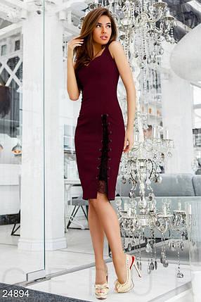 Элегантное платье на лето облегающее с глубоким декольте со шнуровкой креп костюмка цвет марсала, фото 2