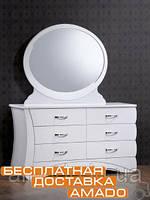 Будуарный стол + зеркало Эвита (белый глянец) Domini