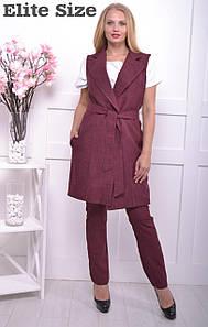 Женский костюм с брюками и удлиненным жилетом большого размера 50-62