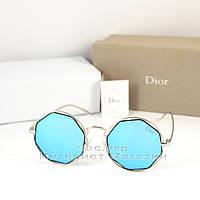 Солнцезащитные очки Dior зеркальные голубые оправа металлическая под серебро качество люкс Диор реплика