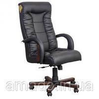 Кресло Кинг Люкс MB белый лаки черный передняя часть, лаки белый задняя часть, вышивка Elite, фото 1