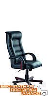 Кресло Роял Люкс орех Кожа Сплит черная, фото 1
