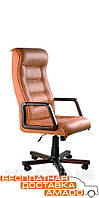 Кресло Роял Экстра орех Кожа Сплит черная, фото 1