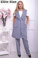 Женский брючный костюм с жилетом большого размера 50-62