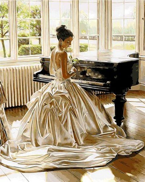 Раскраски по номерам 40×50 см. Девушка у рояля Художник Роб Хефферан