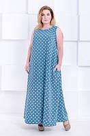 Платье сарафан в пол большого размера Мармарис бирюзовый цветок (52-60)