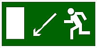 """Знак табличка """"Указатель двери  эвакуационного выхода (правосторонний) налево вниз"""""""