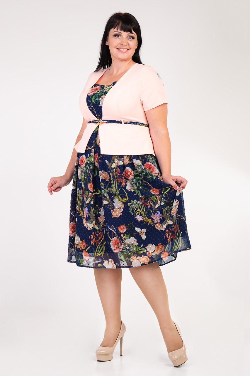 Платье повседневного назначения, зрительно имитирует костюм. р56,60
