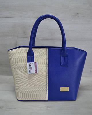 Классическая женская сумка «Две змейки» синяя, бежевая рептилия