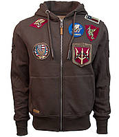 Оригинальный реглан Top Gun Men's zip up hoodie with patches TGD1707 (Brown), фото 1