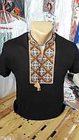 Вышиванка мужская черная с коротким рукавом с красивым геометрическим узором
