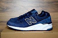 Кроссовки мужские в стиле New Balance 999 код товара OD-1483. Синие с белым