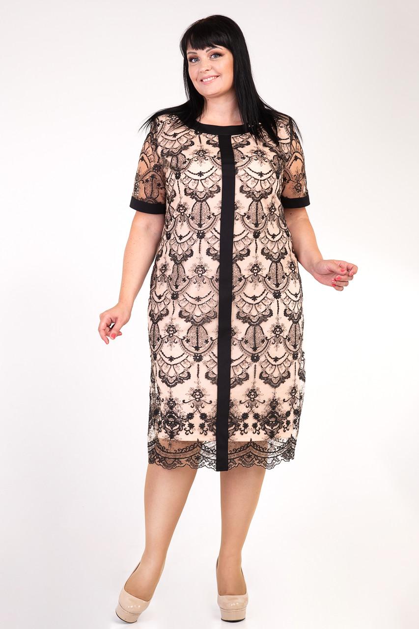Нарядное платье. Нежная вышивка на сетке и удобная трикотажная подкладка. р.54,56,58,60