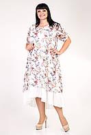 Цветочное летнее женское платье больших размеров, белое