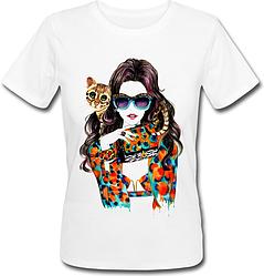 Женская футболка Girl with Cat (белая)