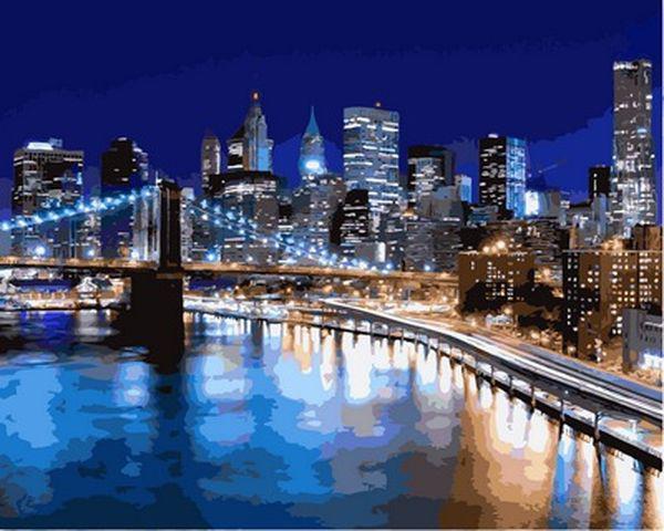 Рисование по номерам 40×50 см. Ночные огни Нью-Йорка