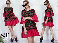 Женское свободное платье с принтом клубника цветы 883698/1, фото 1