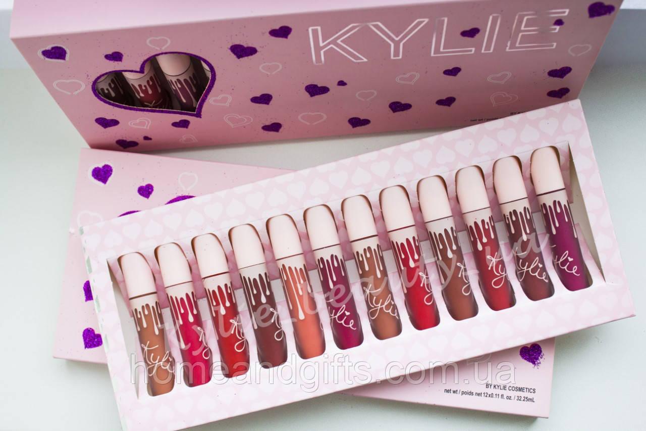 В стиле набор Помад  Kylie The Birthday Collection 12 штук( розовая упаковка)
