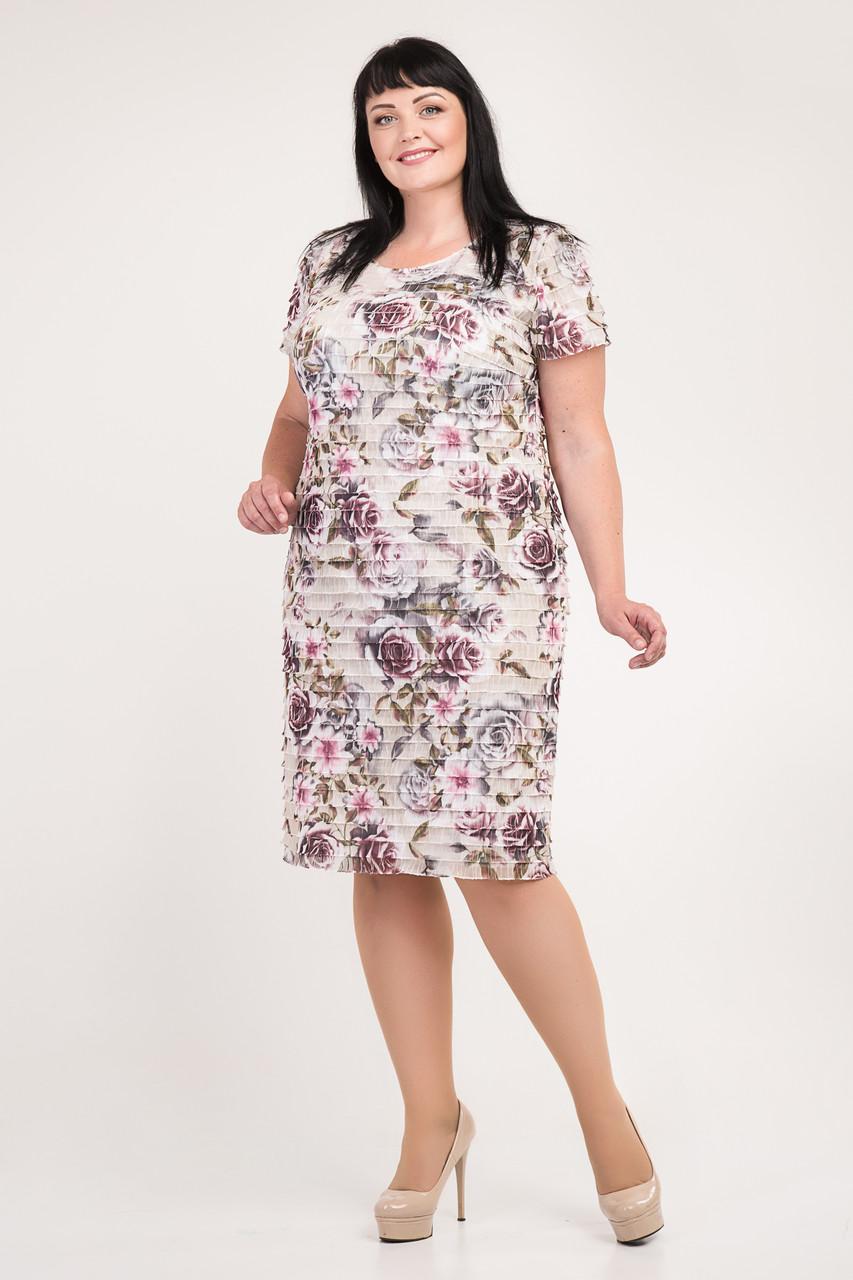 Платье оригинальное, материал с рюшами добавляет платью романтичности и женственности.р.54,56,58