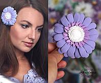 """Заколка цветок """"Лавандовая гербера"""", фото 1"""