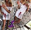 Женское приталенное платье с лампасами 88234