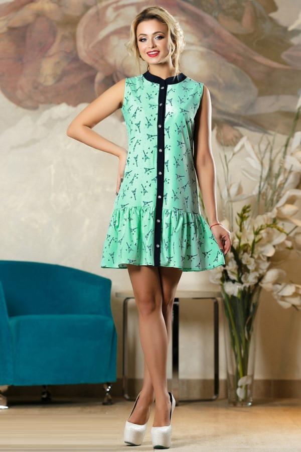 Летнее свободное зеленое платье Д-1497