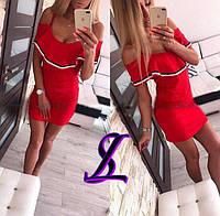 Женское приталенное платье-сарафан с воланом 88227, фото 1