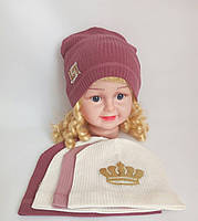 Детская трикотажная шапка для девочки р 42-46