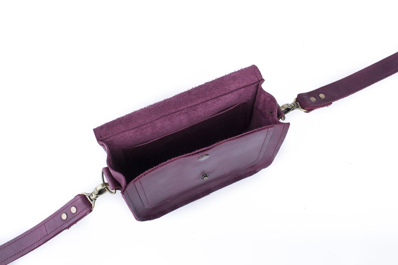 Сумка кожаная фиолетовая 5