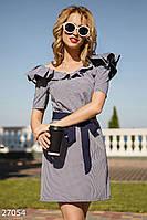016c50b2e5a Модное платье на лето мини приталенное с поясом рюши в клетку синее с белым