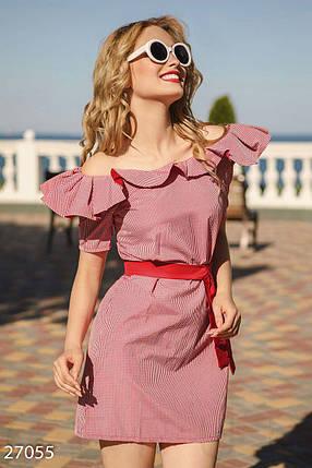 a56f473e69d Летнее платье выше колен по фигуре с поясом и воланами короткий рукав  клетка красное с белым