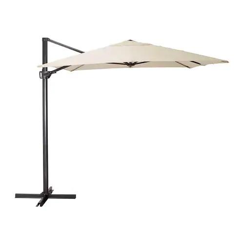 Зонт от солнца с опорой IKEA SEGLARÖ 330x240 см наклонный бежевый темно-серый 303.878.68