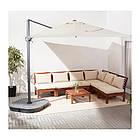 Зонт от солнца с опорой IKEA SEGLARÖ 330x240 см наклонный бежевый темно-серый 303.878.68, фото 7