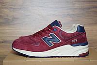 Мужские кроссовки New Balance 999, бордовые, замша