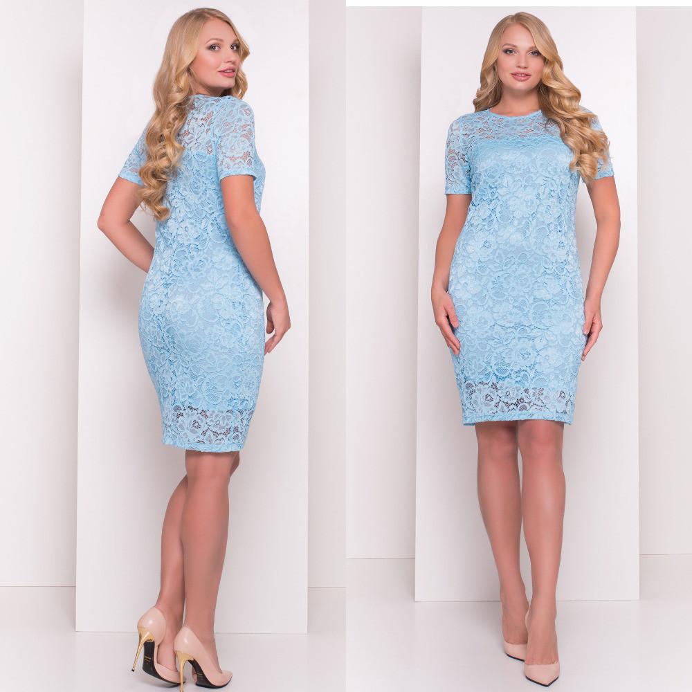 3ae8b715bdc Голубое приталенное гипюровое платье в больших размерах  продажа ...